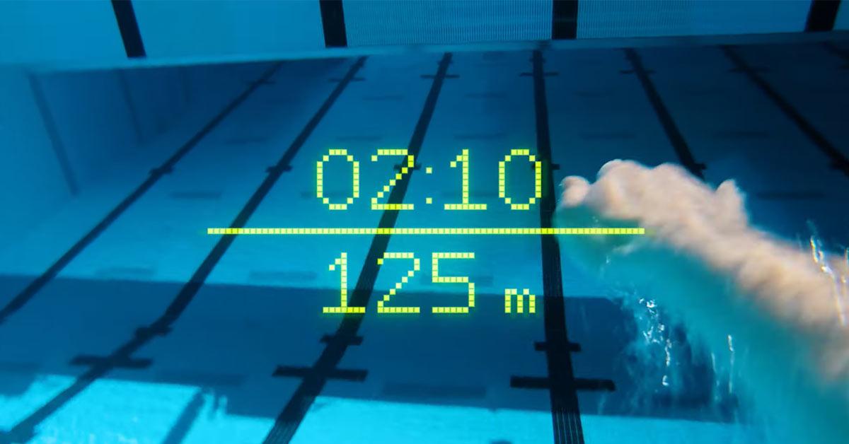 Aperçu lunette natation avec écran réalité augmentée